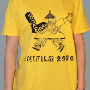 Anifilm 2020, žluté tričko s jednobarevným potiskem